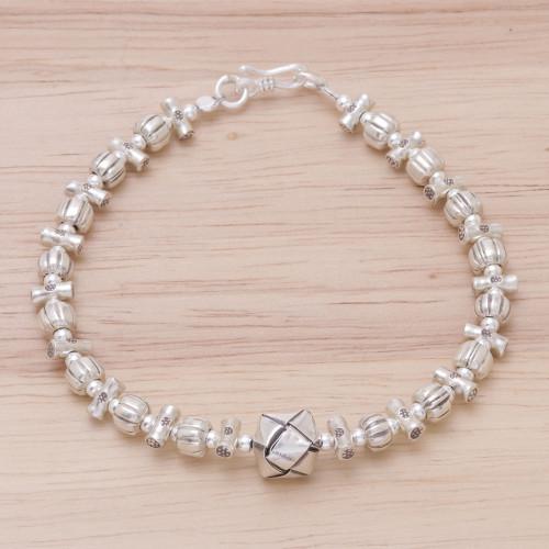 950 Silver Beaded Pendant Bracelet from Thailand 'Karen Puzzle'