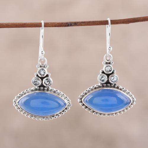Sterling Silver Blue Topaz and Chalcedony Dangle Earrings 'Joyous Blue'