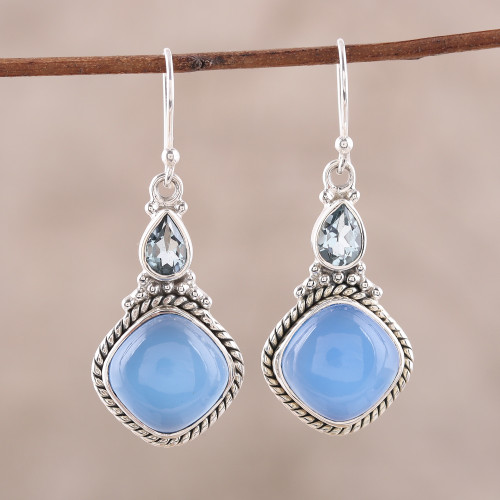 Sterling Silver Blue Topaz and Chalcedony Dangle Earrings 'Blissful Blue'