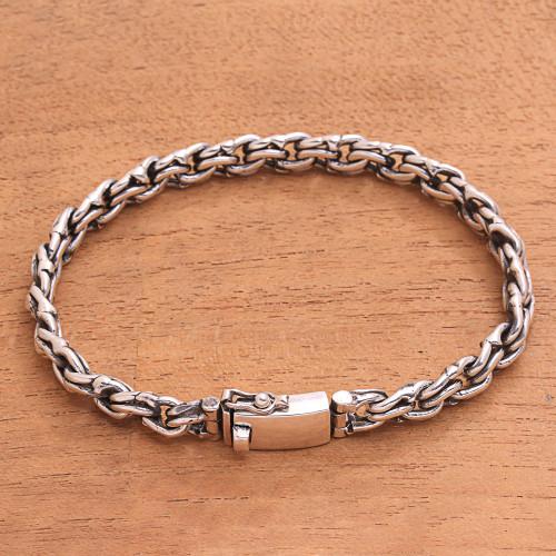 Sterling Silver Link Bracelet Handcrafted in Bali 'Forever United'