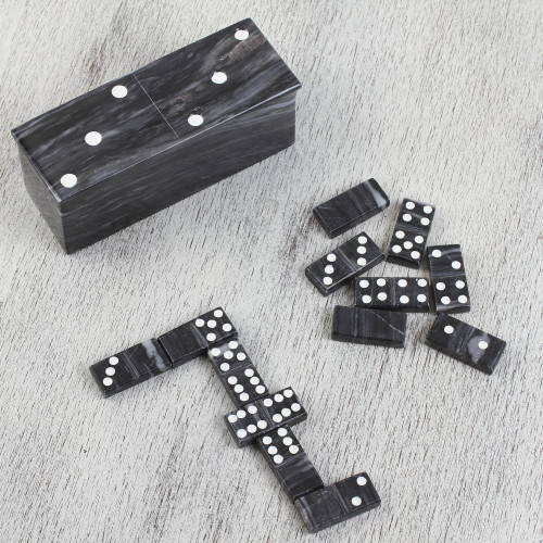Grey Onyx Domino Set from Mexico 'Fascinating Challenge'