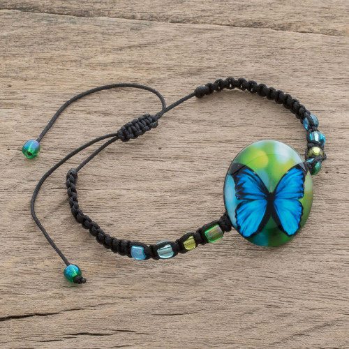 Butterfly Glass Beaded Macrame Pendant Bracelet 'Morpheus'