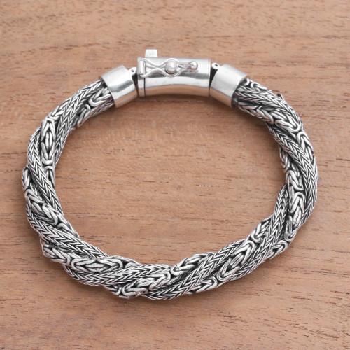 Sterling Silver Borobudur and Naga Chain Bracelet from Bali 'Basuki Dragon'
