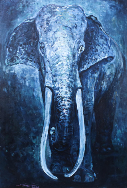 Original Oil On Canvas of Elephant in Blue Shades 'The Great Elephant'