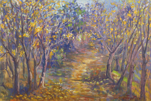 Impressionist Oil Painting of Woodland Path 'Fai Kham'
