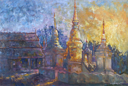 Impressionist Oil Painting on Canvas of Buddhist Temple 'Wat Suan Dok Sunset'