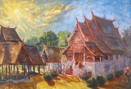 Buddhist Temple Landscape Painting in Oil on Canvas 'Wat Ton Kwen Chiang Mai'