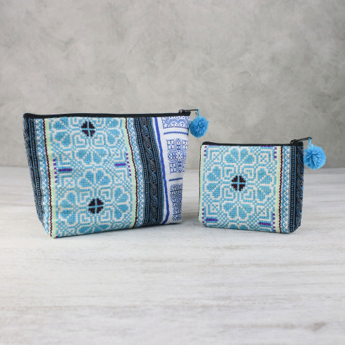 Blue Cotton Blend Hmong Cosmetic Bags from Thailand Pair 'Pretty Hmong'