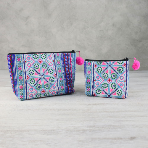 Colorful Hmong Cotton Blend Cosmetic Bags Pair 'Sweet Hmong'