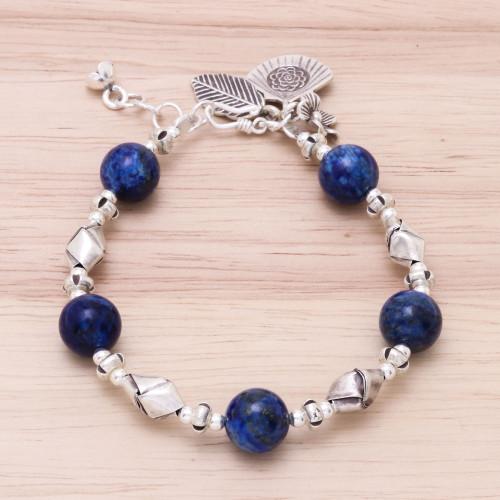 Karen Hill Tribe Lapis Lazuli Beaded Bracelet from Thailand 'Charm of Blue'
