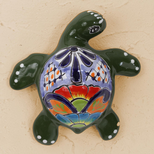 Ceramic Turtle Wall Sculpture in Green from Mexico 'Delightful Turtle'