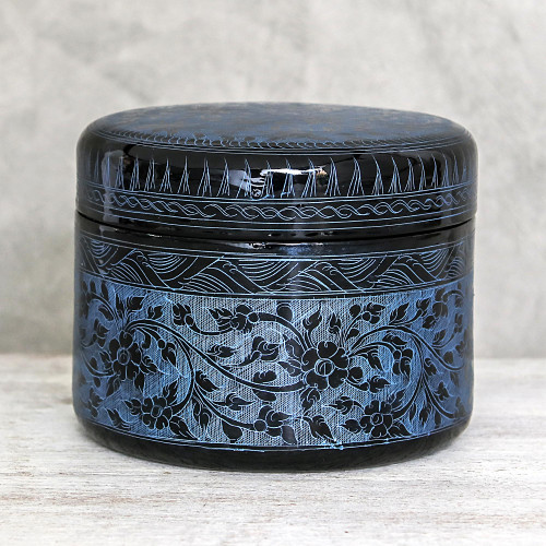 Round Mango Wood Decorative Box in Blue from Thailand 'Exotic Flora in Blue'