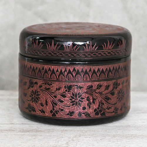 Round Mango Wood Decorative Box in Pink from Thailand 'Exotic Flora in Pink'