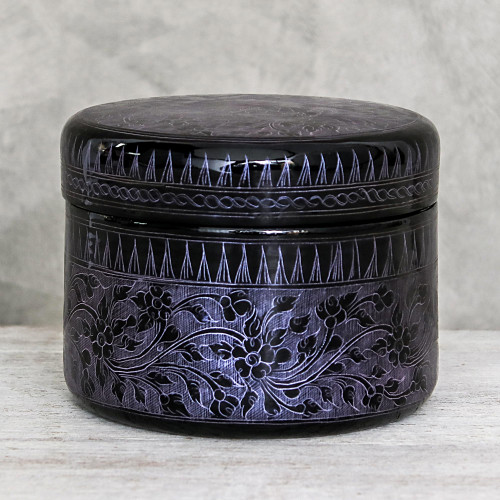 Round Mango Wood Decorative Box in Purple from Thailand 'Exotic Flora in Purple'