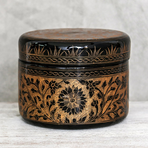 Round Mango Wood Decorative Box in Gold from Thailand 'Exotic Flora in Gold'