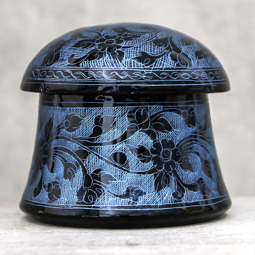 Lacquerware Mango Wood Decorative Box in Blue from Thailand 'Floral Mushroom in Blue'