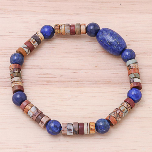 Lapis Lazuli and Jasper Beaded Stretch Bracelet 'Special Earth'