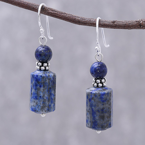 Lapis Lazuli Dangle Earrings from Thailand 'Blue Marvel'