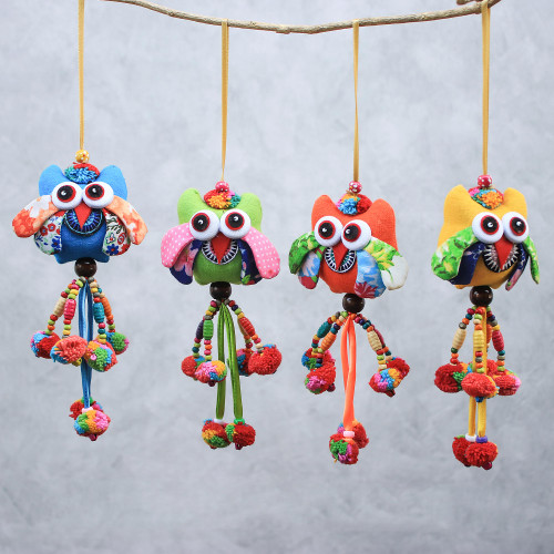 Colorful Cotton Owl Ornaments from Thailand Set of 4 'Owl Color'