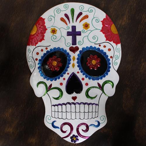 Handmade Festive Skull Tin Wall Art from Mexico 'Festive Skull'