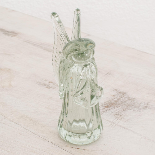 Handblown Recycled Glass Angel Figurine from Guatemala 'Crystalline Angel'