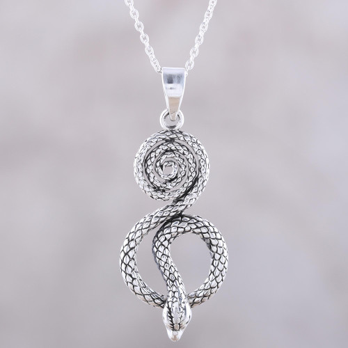 Serpentine Snake Sterling Silver Pendant Necklace from India 'Serpent Swirl'