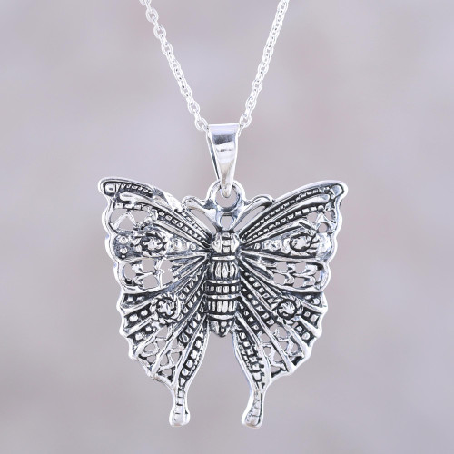 Butterfly Sterling Silver Pendant Necklace from India 'Dazzling Butterfly'