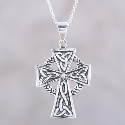 Celtic Cross Sterling Silver Pendant Necklace from India 'Celtic Faith'