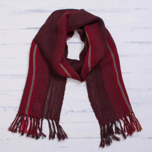 Handwoven 100 Alpaca Wrap Scarf in Crimson from Peru 'Andean Zigzag in Crimson'