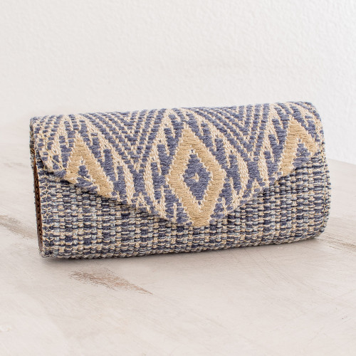 Handwoven Cotton Eyeglasses Case in Cadet Blue and Ivory 'Mayan Cosmos in Cadet Blue'
