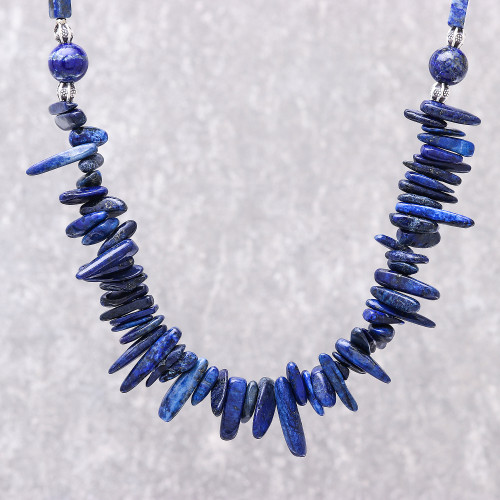 Lapis Lazuli Beaded Necklace from Thailand 'Magnificent Waters'
