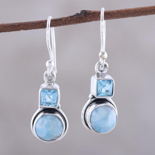 Larimar and Blue Topaz Sterling Silver Dangle Earrings 'Glittering Sky'