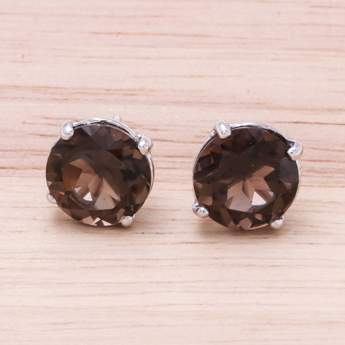 Rhodium Plated Smoky Quartz Stud Earrings from Thailand 'Precious Sparkle'