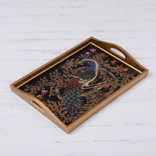 Reverse-Painted Glass Peacock Tray in Gold 17 in. 'Peacock Charm in Gold'