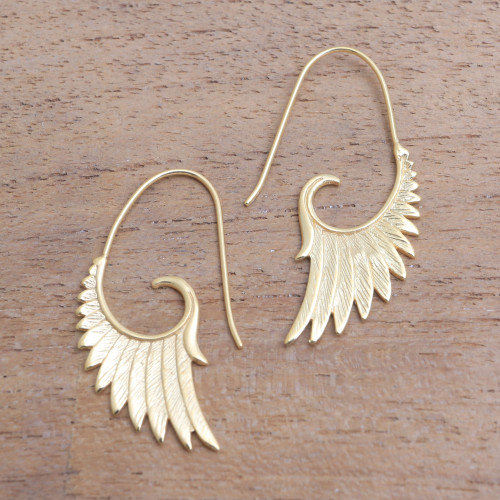 18k Gold Plated Sterling Silver Wing Half-Hoop Earrings 'Wings at Dawn'