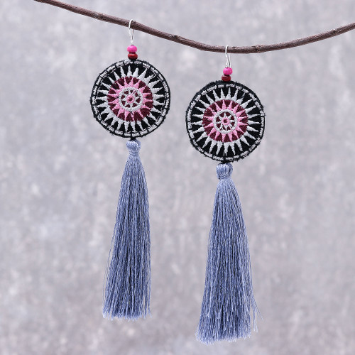 Hand-Embroidered Dangle Earrings from Thailand 'Hill Tribe Carnival'