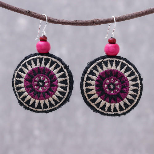 Round Embroidered Cotton Blend Dangle Earrings 'Exotic Circles'