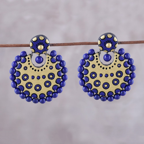 Blue and Gold-Tone Ceramic Dangle Earrings from India 'Heavenly Bollywood'