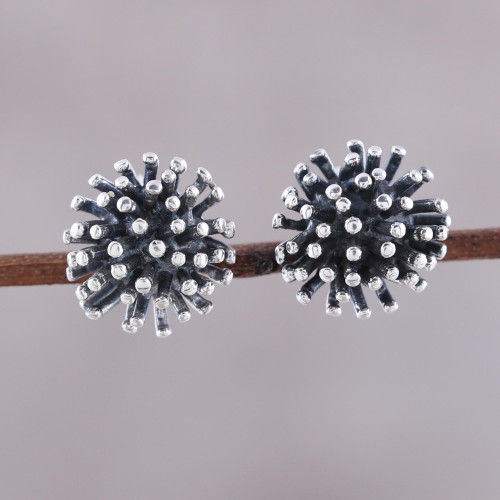 Modern Sterling Silver Stud Earrings from India 'Spiny Burst'