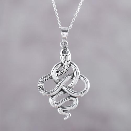 Handcrafted Sterling Silver Snake Pendant Necklace 'Sensational Serpent'