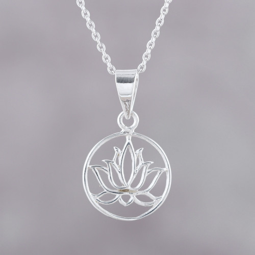Handcrafted Sterling Silver Lotus Bloom Pendant Necklace 'Lotus in Bloom'