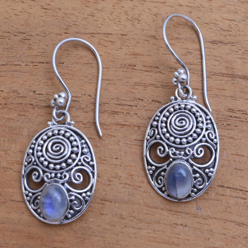 Handcrafted Rainbow Moonstone Dangle Earrings from Bali 'Shield of the Gods'