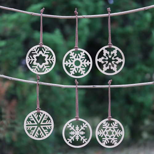 Set of 6 Handmade Wood Snowflake Ornaments from Thailand 'Let it Snow'