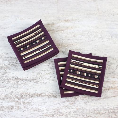 Patchwork Cotton Coasters in Purple Set of 6 'Lahu Purple'