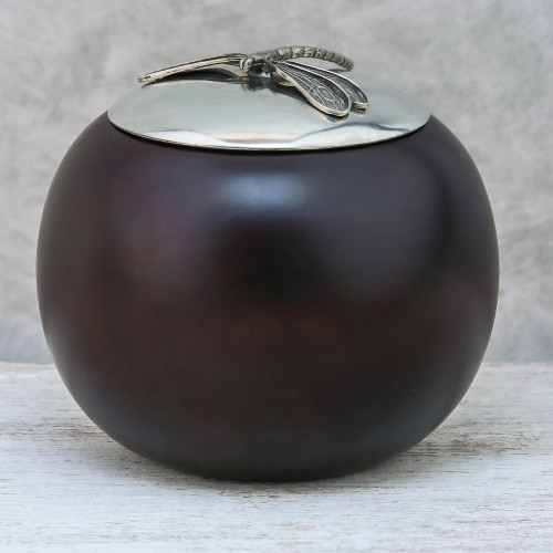 Wood and Pewter Dragonfly Decorative Jar 4 in. 'The Dragonfly'