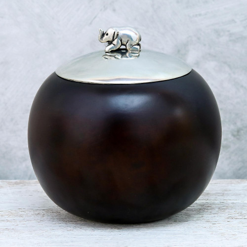 Wood and Pewter Elephant Decorative Jar 4 in. 'Elephant Orb'