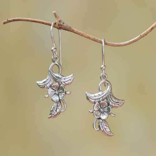 925 Sterling Silver Flower Dangle Earrings from Bali 'Frangipani Blooms'