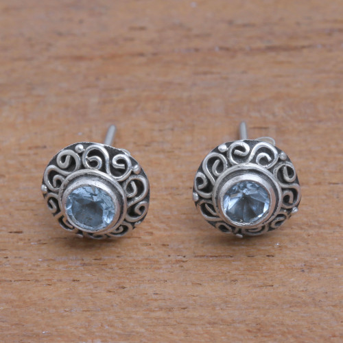 Swirl Pattern Blue Topaz Stud Earrings from Bali 'God Eye'