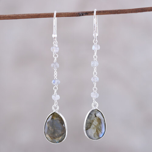 10-Carat Labradorite Dangle Earrings from India 'Raining Drops'