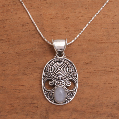 Handcrafted Rainbow Moonstone Pendant Necklace from Bali 'Shield of the Gods'